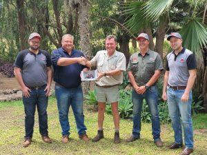 Ryan Clark, AGCO Product Marketing Manager; Lenard Lingenfelder, Area Manager; Louis van der Walt, farmer; Hannes van Deventer, Dealer Principle of Trophy Tractors; and Robert Keir, AGCO Marketing Specialist.